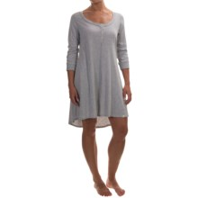 Lucky Brand Jersey Henley Nightgown - 3/4 Sleeve (For Women) in Heather Grey - Overstock