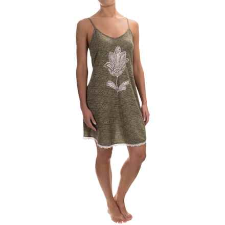 Lucky Brand Jersey Knit Fly Away Slip (For Women) in Olive Print - Closeouts