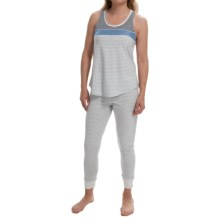 Lucky Brand Jersey Knit Pajamas - Tank and Long Bottoms (For Women) in Blue/Grey - Closeouts