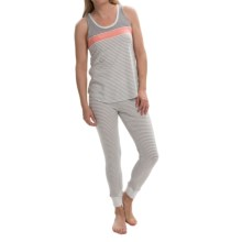 Lucky Brand Jersey Knit Pajamas - Tank and Long Bottoms (For Women) in Coral/Grey - Closeouts