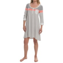 Lucky Brand Jersey Knit Sleep Shirt - 3/4 Sleeve (For Women) in Coral/Grey - Closeouts