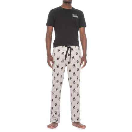 Lucky Brand Jersey-Knit T-Shirt and Pants Pajamas - Short Sleeve (For Men) in Jet Black/Heather Grey - Closeouts