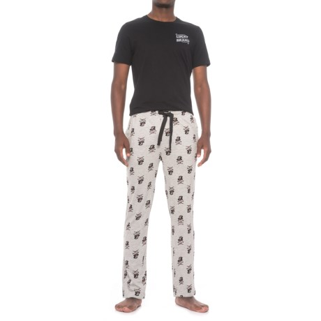 Lucky Brand Jersey-Knit T-Shirt and Pants Pajamas - Short Sleeve (For Men) in Jet Black/Heather Grey