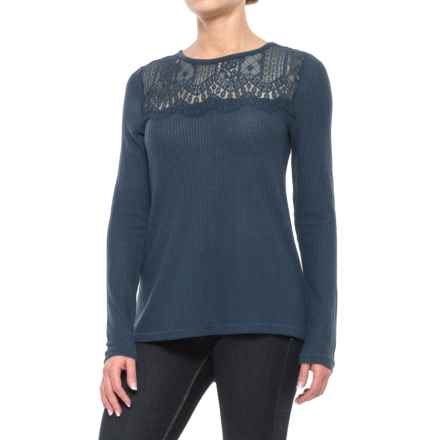 Lucky Brand Lace Collar Thermal Shirt - Long Sleeve (For Women) in American Navy - Closeouts