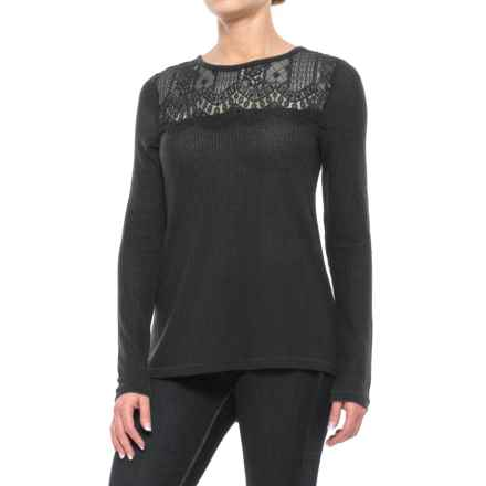 Lucky Brand Lace Collar Thermal Shirt - Long Sleeve (For Women) in Black - Closeouts