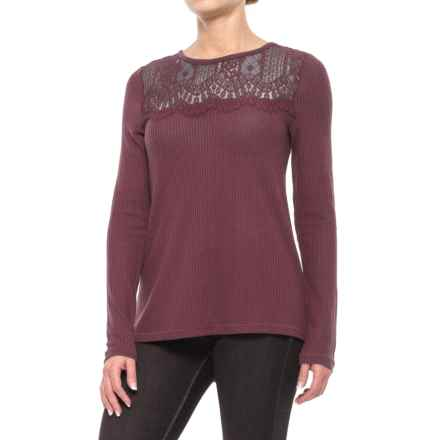 Lucky Brand Lace Collar Thermal Shirt - Long Sleeve (For Women) in Port Royal - Closeouts