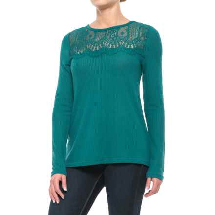 Lucky Brand Lace Collar Thermal Shirt - Long Sleeve (For Women) in Shaded Spruce - Closeouts