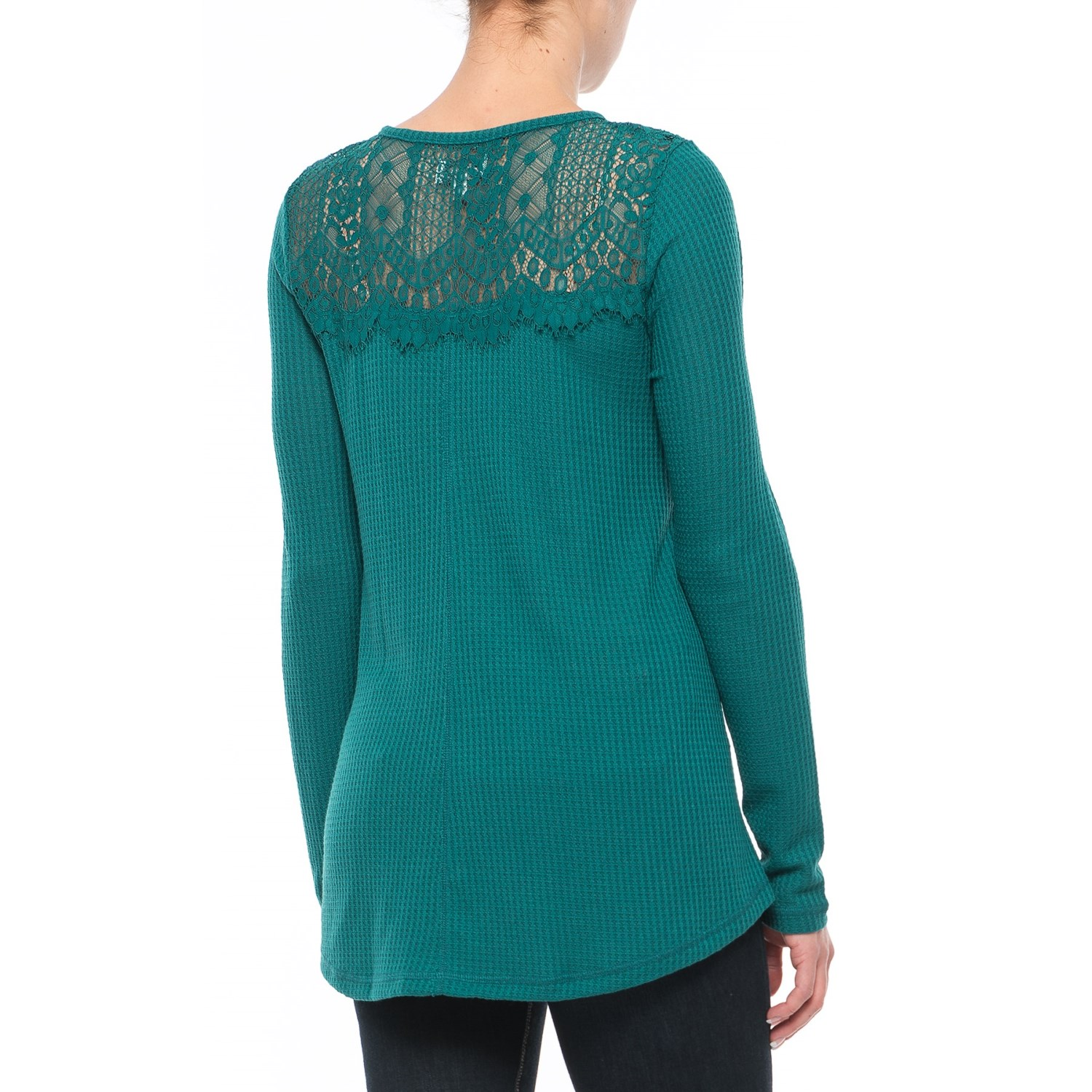 Lucky Brand Lace Collar Thermal Shirt For Women
