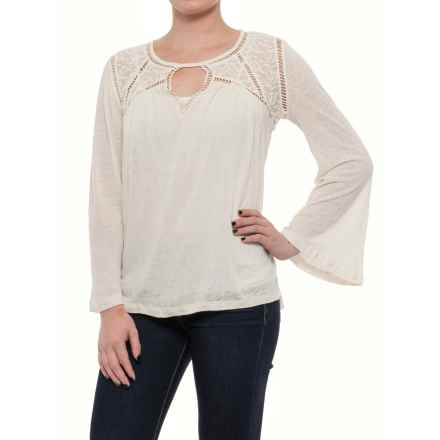 Lucky Brand Lace Mixed-Knit Peasant Blouse - Long Sleeve (For Women) in Eggshell - Closeouts