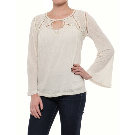 Lucky Brand Lace Mixed-Knit Peasant Blouse - Long Sleeve (For Women) in Eggshell