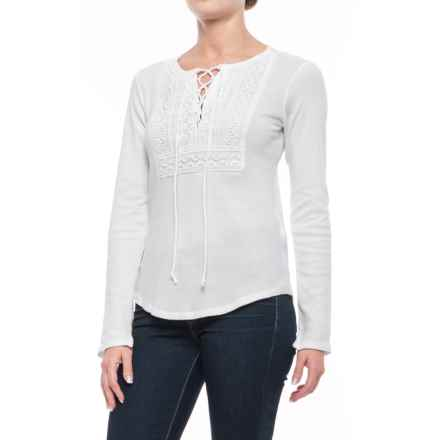 Lucky Brand Lace-Up Bib Thermal Shirt - Long Sleeve (For Women) in Lucky White - Closeouts