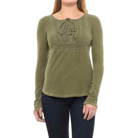 Lucky Brand Lace-Up Bib Thermal Shirt - Long Sleeve (For Women) in Olive Night - Closeouts