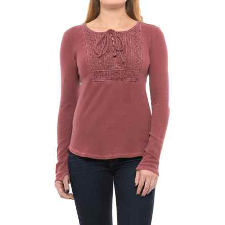 Lucky Brand Lace-Up Bib Thermal Shirt - Long Sleeve (For Women) in Renaisance Rose - Closeouts