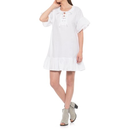 Lucky Brand Lace-Up Dress - Short Sleeve (For Women) in Lucky White
