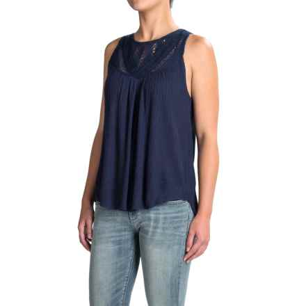 Lucky Brand Lace-Yoke Tank Top (For Women) in American Navy - Closeouts