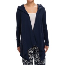 Lucky Brand Laid-Back Thermal Lounge Cardigan Sweater - Hooded (For Women) in Navy - Closeouts