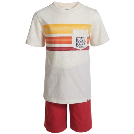 Lucky Brand Left Pocket T-Shirt and Shorts Set - Short Sleeve (For Boys) in Natural Space Dye/Red