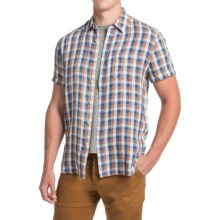 Lucky Brand Linen Gingham Plaid Shirt - Short Sleeve (For Men) in Brown/Blue/White - Closeouts