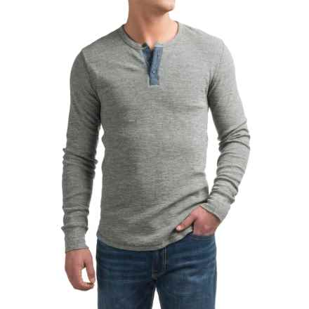 Lucky Brand Lived-In Thermal Henley Shirt - Long Sleeve (For Men) in Heather Grey - Closeouts