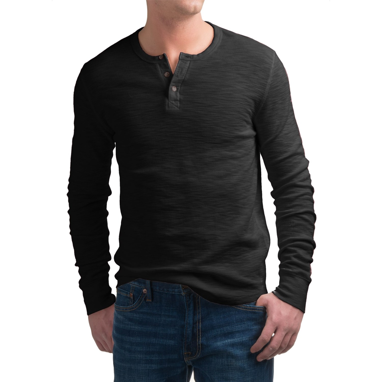 Lucky brand lived in thermal henley shirt for men for Men s thermal henley long sleeve shirts