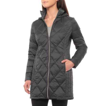 Lucky Brand Long Diamond-Quilted Down Jacket (For Women) in Gunmetal - Closeouts