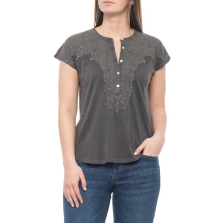 1b661bd7 Lucky Brand Lucky Black Washed Applique Henley Shirt - Short Sleeve (For  Women) in