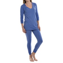 Lucky Brand Lucky Layers V-Neck Pajamas - Long Sleeve (For Women) in Blue Iris - Closeouts