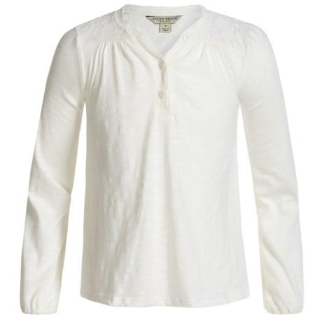 Lucky Brand Marissa Slub-Jersey Peasant Top - Long Sleeve (For Big Girls) in Whisper White
