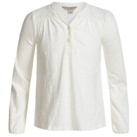 Lucky Brand Marissa Slub-Jersey Peasant Top - Long Sleeve (For Little Girls) in Whisper White