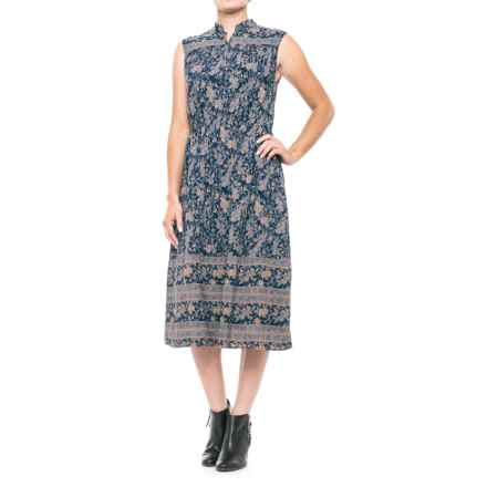 Lucky Brand Michelle Antique-Floral Dress - Sleeveless (For Women) in Navy Multi - Closeouts
