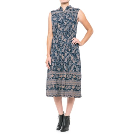 Lucky Brand Michelle Antique-Floral Dress - Sleeveless (For Women) in Navy Multi