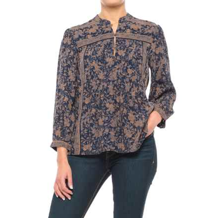 Lucky Brand Michelle Woven Floral Shirt - Long Sleeve (For Women) in Blue Multi - Closeouts