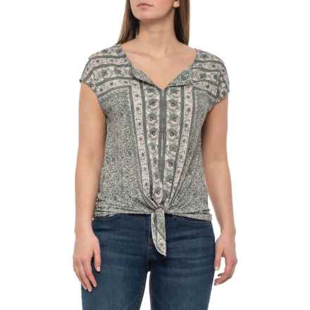 Lucky Brand Mint Multi Tie-Front Shirt - Sleeveless (For Women) in Mint Multi - Closeouts