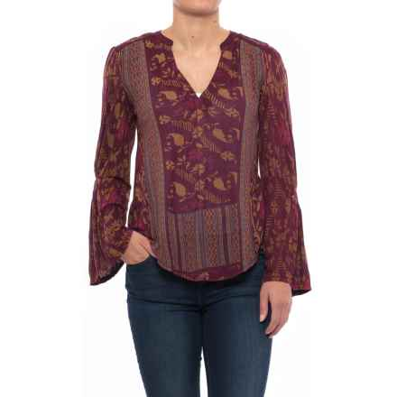 Lucky Brand Mix-Print Peasant Top - Long Sleeve (For Women) in Berry Multi - Closeouts