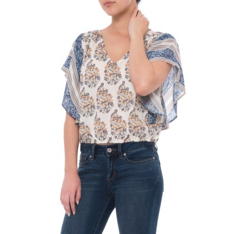 Lucky Brand Mixed Print Peasant Top - Short Sleeve (For Women) in Nml Natural Multi