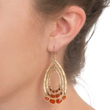 Lucky Brand Multi Hoop Drop Earrings (For Women) in Gold & Red - Closeouts
