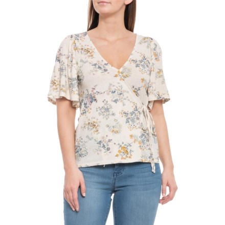 84bea845dd9 Lucky Brand Multi-Natural Floral Print Wrap Shirt - V-Neck
