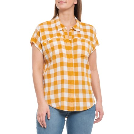 430c100b079 Lucky Brand Multi-Yellow Gingham Henley Shirt - Short Sleeve (For Women) in