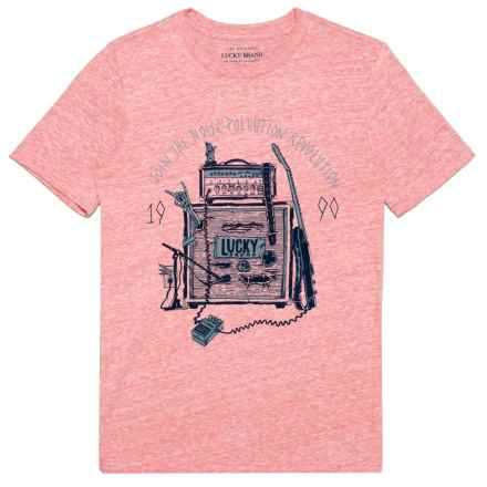 Lucky Brand Music Box Graphic T-Shirt - Short Sleeve (For Big Boys) in Mineral Red Heather - Closeouts