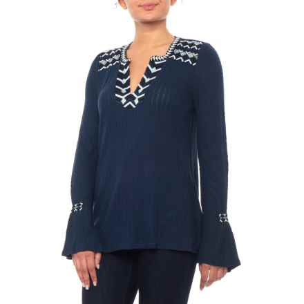 Lucky Brand Navy Drop Needle Embroidered Shirt - Long Sleeve (For Women) in Navy - Closeouts