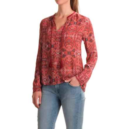 Lucky Brand Paisley Chiffon Blouse - Long Sleeve (For Women) in Red Multi - Closeouts