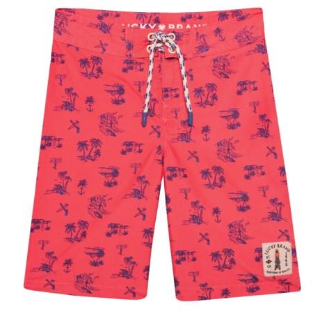 02a7ff636 Lucky Brand Palm Bear Print Boardshorts (For Big Boys) in Cayenne