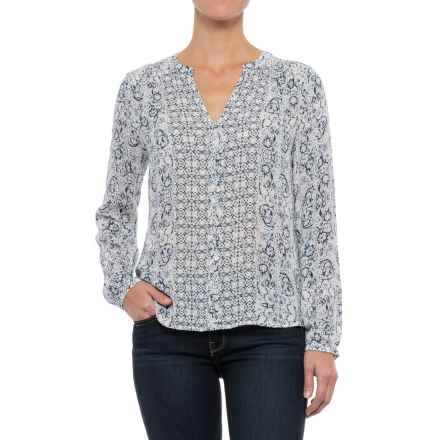 Lucky Brand Peasant Blouse - Long Sleeve (For Women) in Blue Multi - Closeouts
