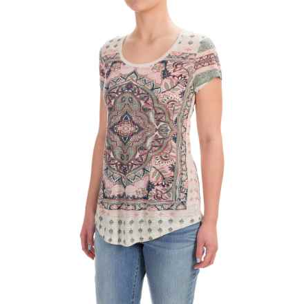 Lucky Brand Persian Carpet Graphic Shirt - Short Sleeve (For Women) in Green Multi - Closeouts