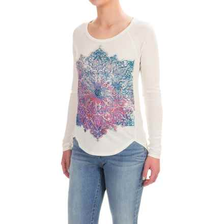 Lucky Brand Photo Mandala T-Shirt - Long Sleeve (For Women) in Marshmallow - Closeouts