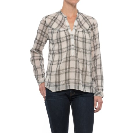 Lucky Brand Plaid Voile Shirt - Long Sleeve (For Women) in Pink Multi
