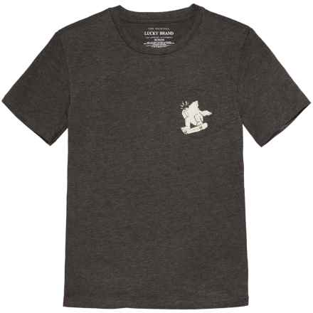 Lucky Brand Pocket T-Shirt - Crew Neck, Short Sleeve (For Big Boys) in Flint Heather - Closeouts