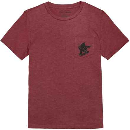 Lucky Brand Pocket T-Shirt - Crew Neck, Short Sleeve (For Big Boys) in Ruby Wine Heather - Closeouts