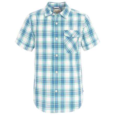 Lucky Brand Poplin Shirt - Short Sleeve (For Big Boys) in Marshmallow - Closeouts