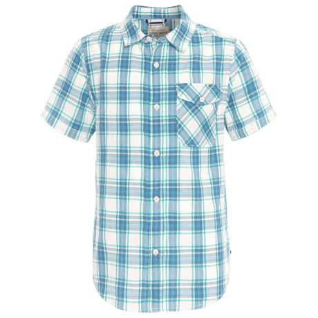 Lucky Brand Poplin Shirt - Short Sleeve (For Big Boys) in Marshmallow